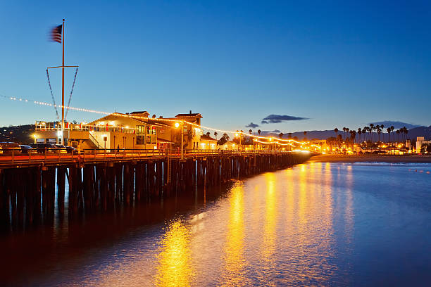 Pier in Santa Barbara at night Pier in Santa Barbara at night, California santa barbara california stock pictures, royalty-free photos & images