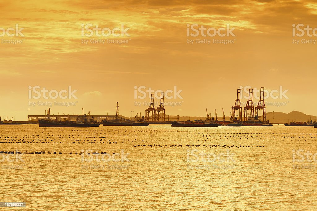 Pier in silhouette. royalty-free stock photo