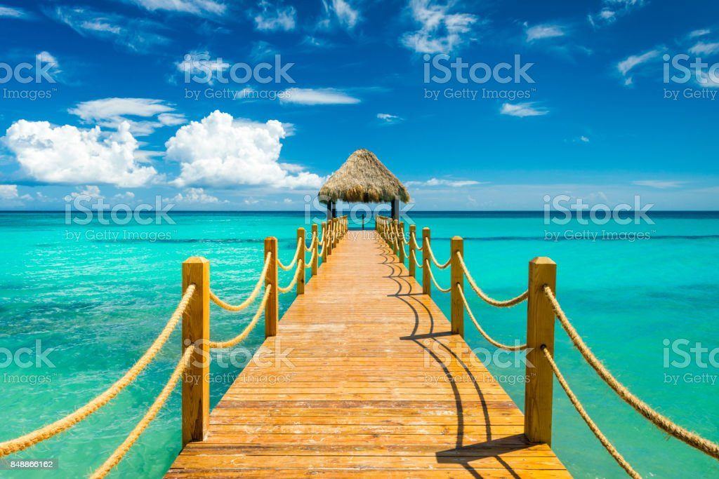 pier in the Caribbean stock photo