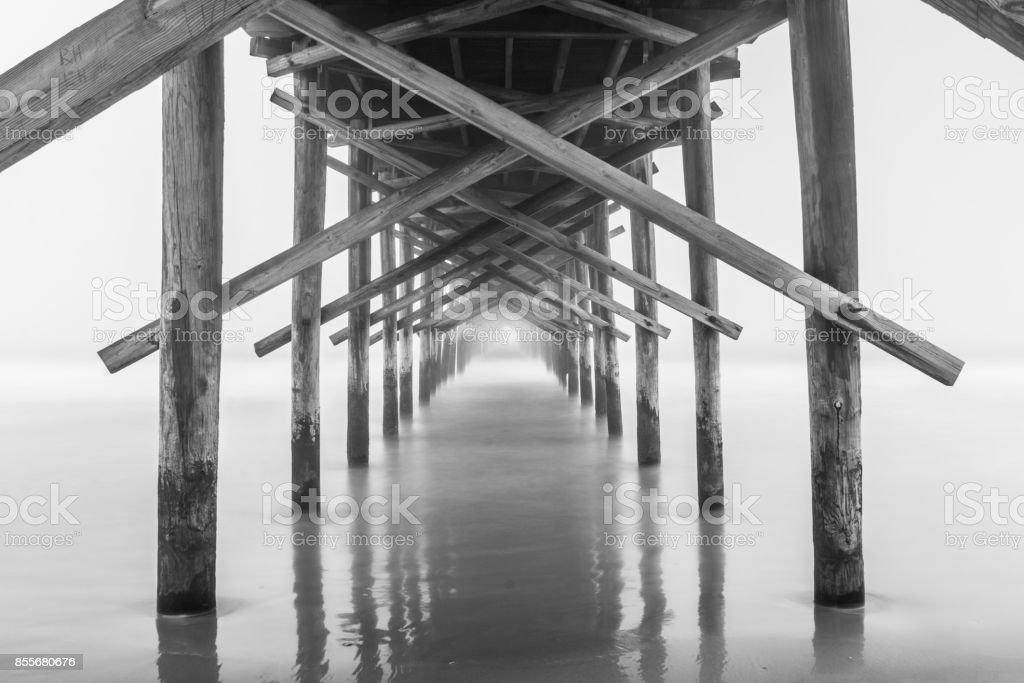 Pier in the Fog stock photo