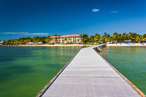 Pier in the Gulf of Mexico in Key West, Florida. stock photo