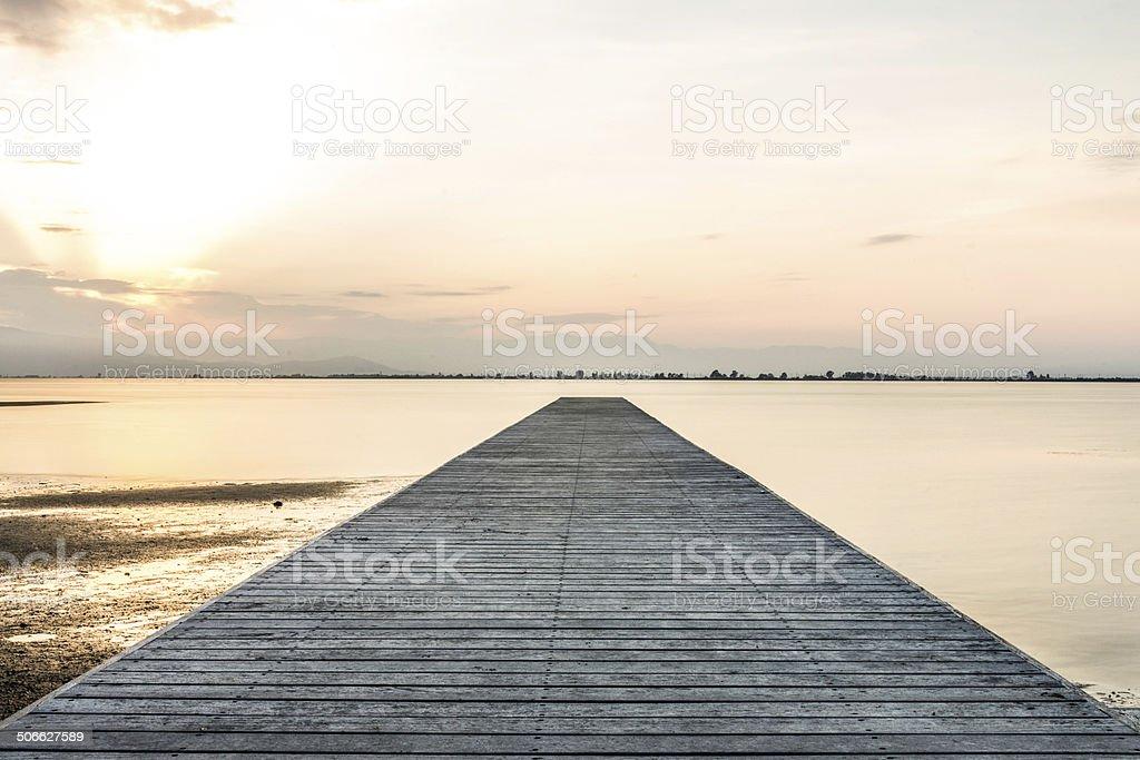 pier in twilight stock photo