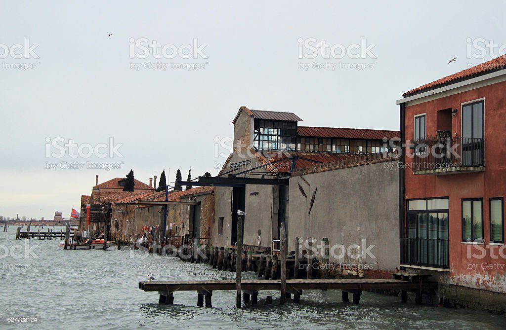 pier in Venice, city of water stock photo