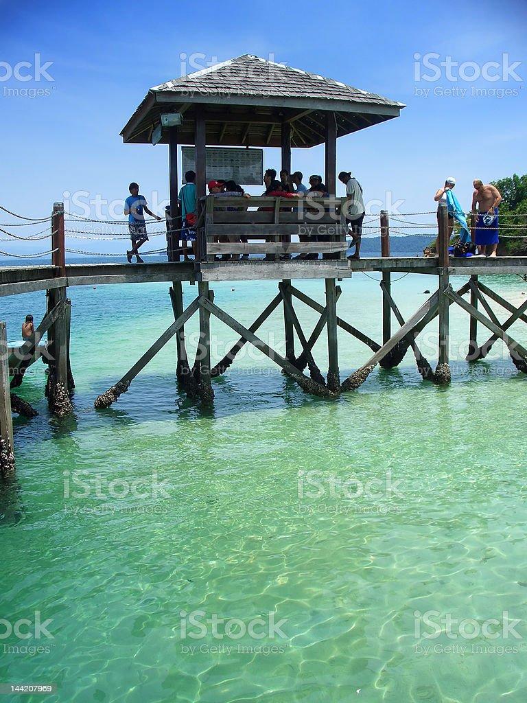 Pier, islands near Kota Kinabalu, Sabah, Malaysia stock photo