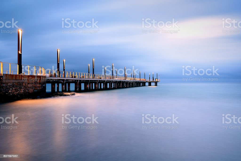 Pier Lights at Blue Hour, Alassio, Ligury, Italy stock photo