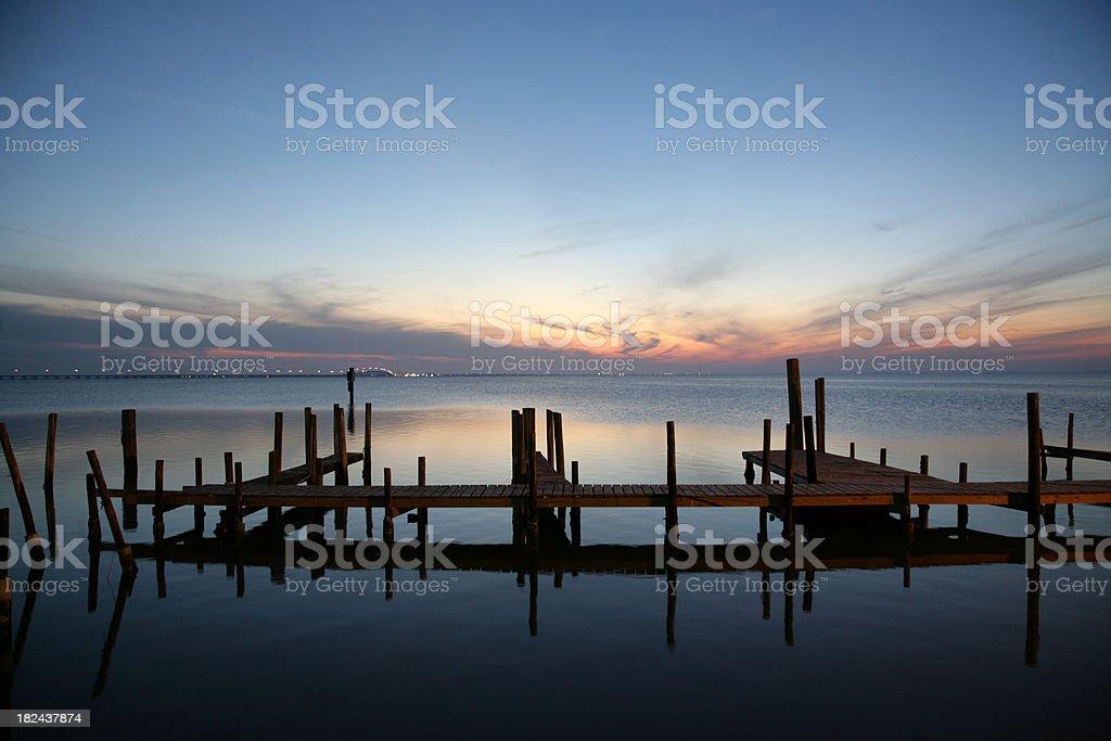 Pier near South Padre Island causeway stock photo