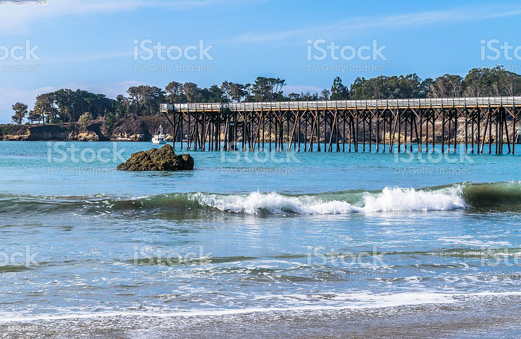 Pier, Ocean, and Blue Sky stock photo
