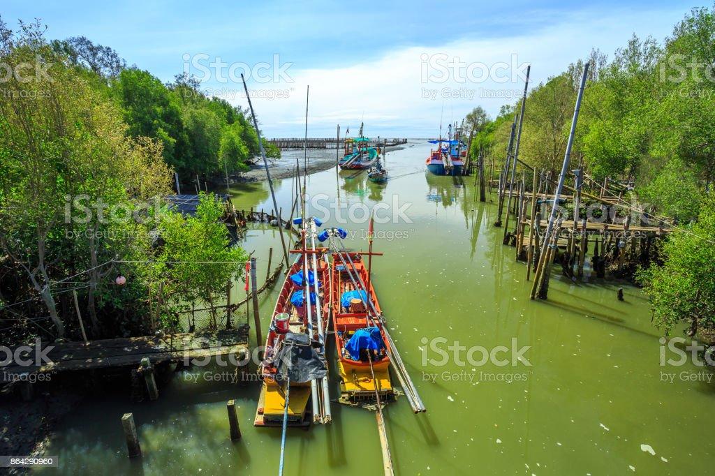 Pier of fishing village royalty-free stock photo