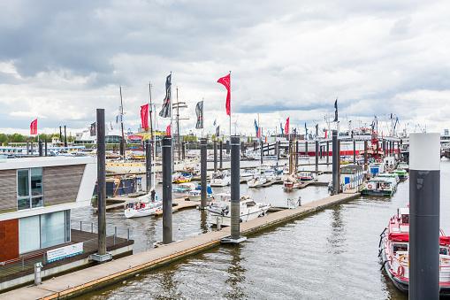 Pier of the port of Hamburg harbor on the river Elbe in Hamburg, Germany.