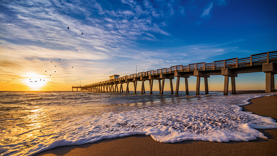 sunset  at the pier of  venice, florida