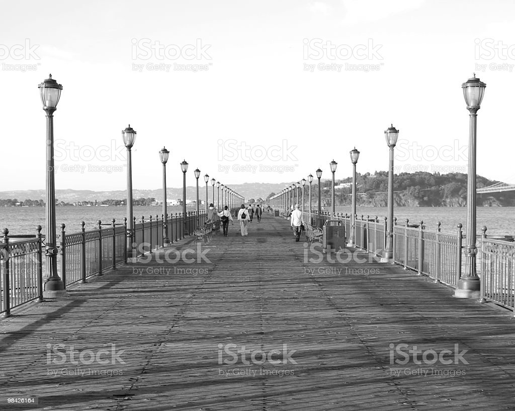 Pier Off the Bay in Black and White royalty-free stock photo