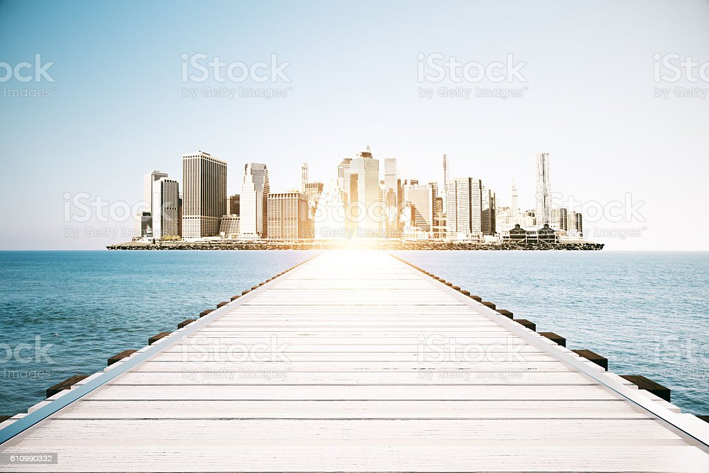 Pier on city background stock photo