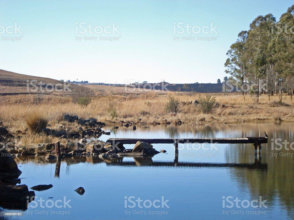 Pier on lake at Millstream trout retreat stock photo