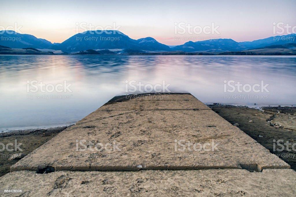 Pier on lake Liptovska Mra, Slovakia stock photo