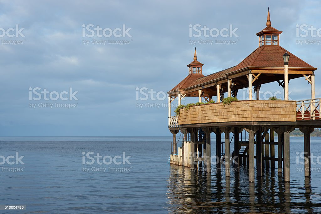 Pier on Lake Llanquihue stock photo