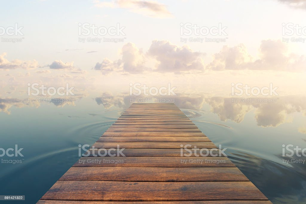 Pier on sky background stock photo