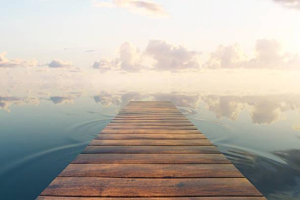 pier on sky background - 桟橋 ストックフォトと画像