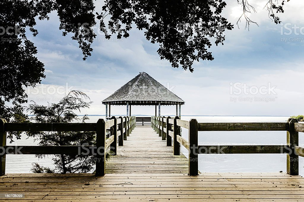Pier Over Tranquil Waters royalty-free stock photo