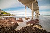 Ocean Beach - California, Dusk, Sunset, Architectural Column, Bay of Water