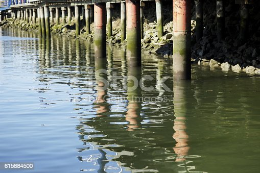 Close up of the ferry terminal pier on Galiano Island, BC, Canada