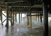 waves splashing under the San Clemente, CA pier