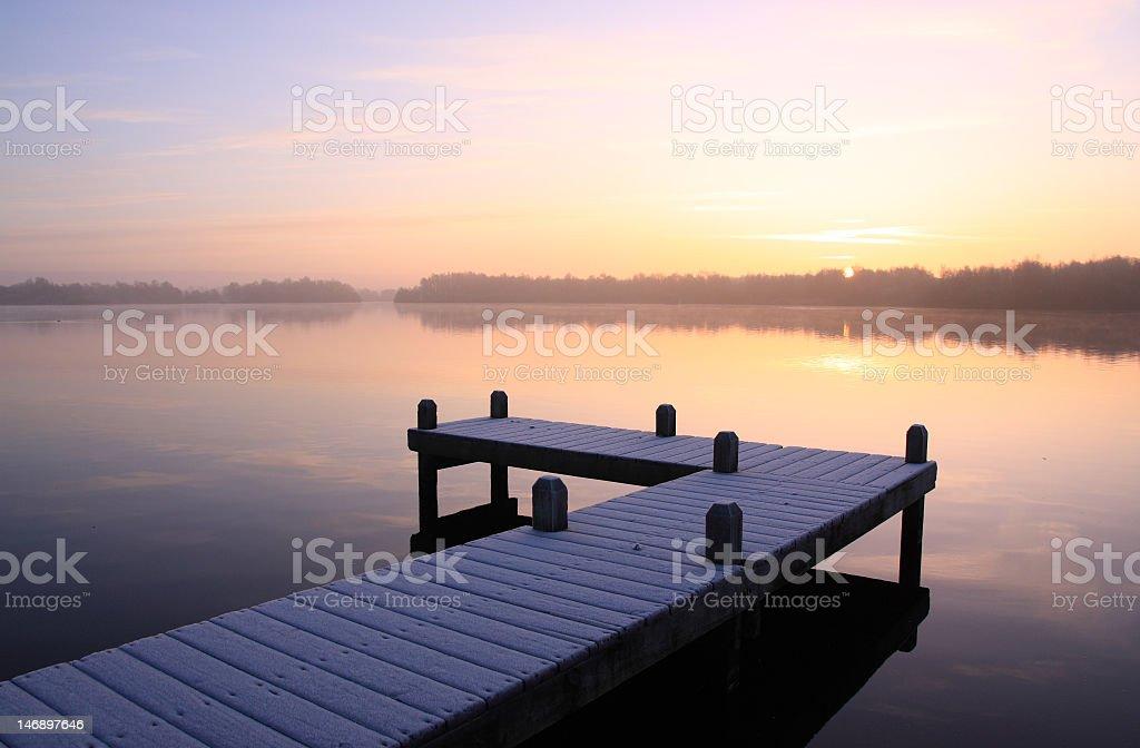 Pier sunrise royalty-free stock photo