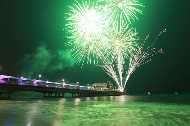 Pier Theatre Fireworks stock photo
