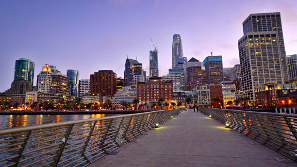 Pier To San Francisco. Evening. City. Illumination San Francisco cityscape san francisco bay stock pictures, royalty-free photos & images