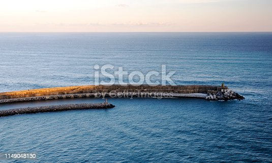 Dock in the ocean of north of spain on a sunny day