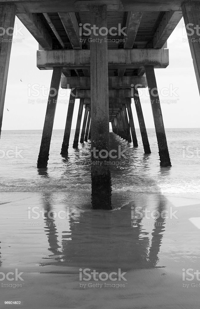 Pier Underside Black & White royalty-free stock photo