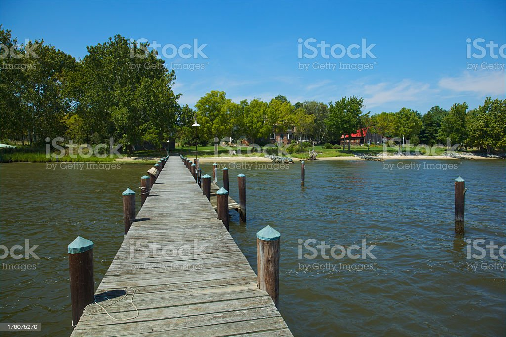 Pier View of Home on Wye River Maryland stock photo