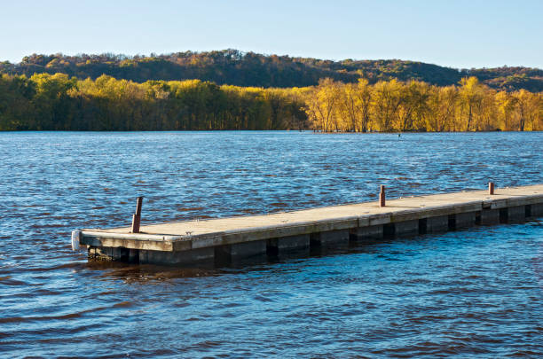Pier Waters and Woodlands of Mississippi River in Prairie du Chien stock photo
