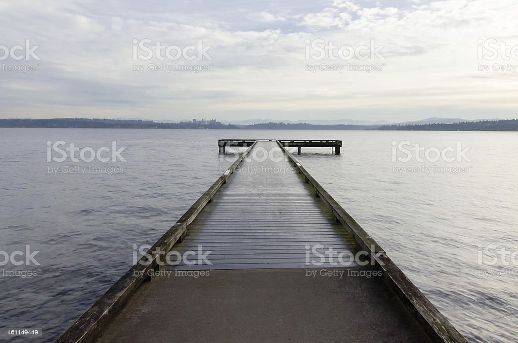 Pier with view of Bellevue Washington stock photo