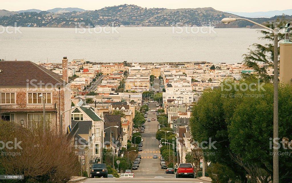 Pierce Street, Pacific Heights, San Francisco Bay Area royalty-free stock photo