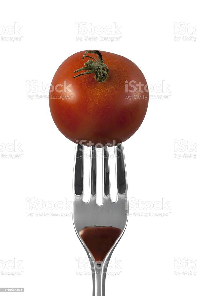 Pierced food item royalty-free stock photo