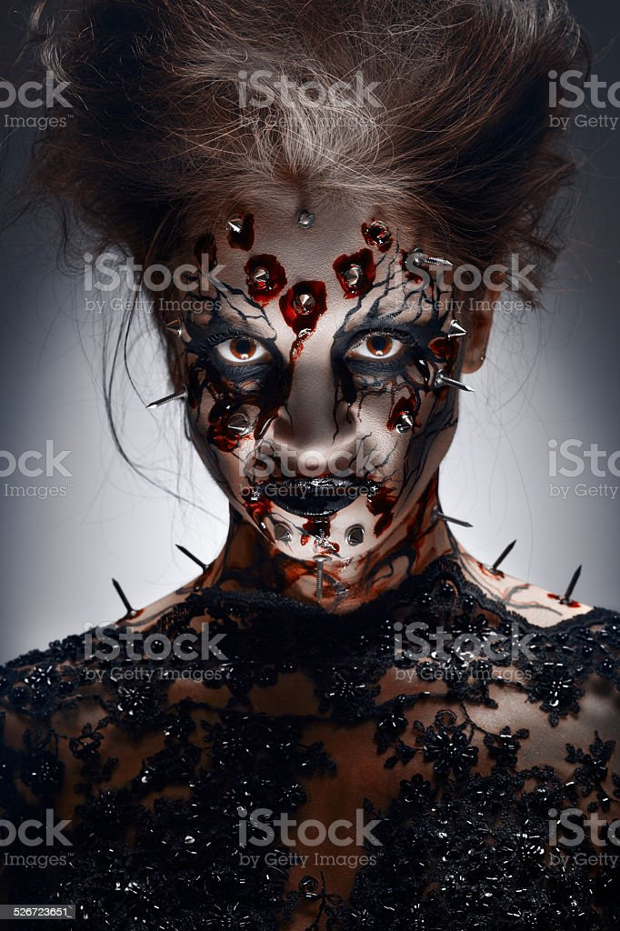 Pierced grin. stock photo