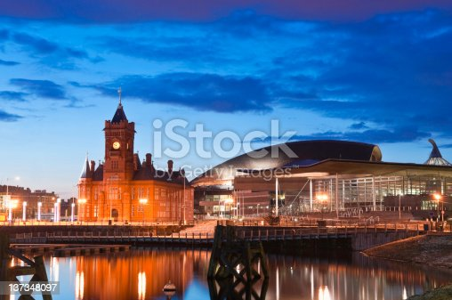 Pretty night time illuminations of the stunning Cardiff Bay, many sights visible including the Pierhead building (1897) and National Assembly for Wales. ProPhoto RGB for precise colour reproduction.