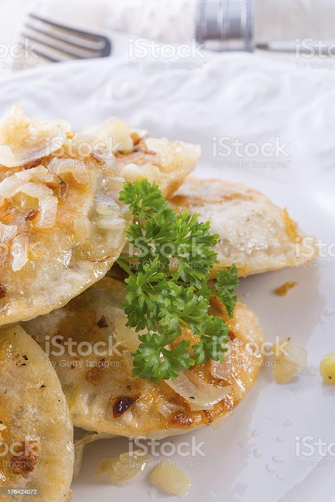 pierogi with meat stock photo