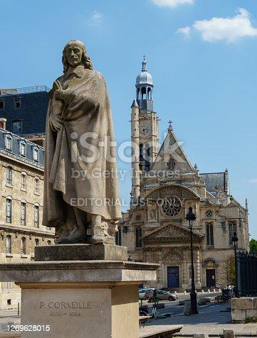 istock Pierre Corneille statue and Saint-etienne-du-mont church - Paris, France 1269628015