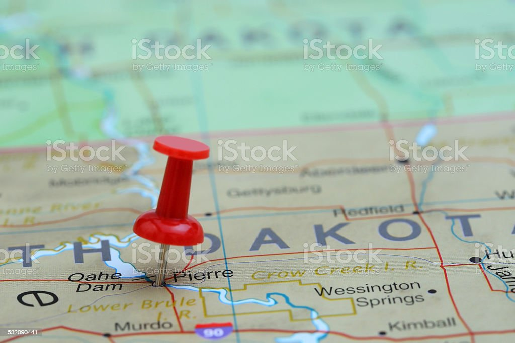 Pierre pinned on a map of USA stock photo