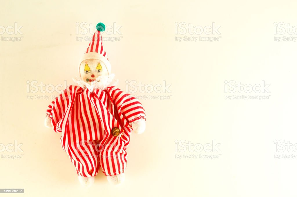 Pierrot toy doll on white background royalty-free stock photo