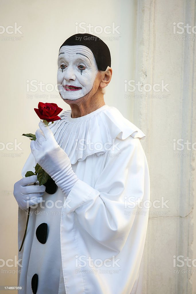 Pierrot with Red Rose 2013 Carnival Venice Italy royalty-free stock photo