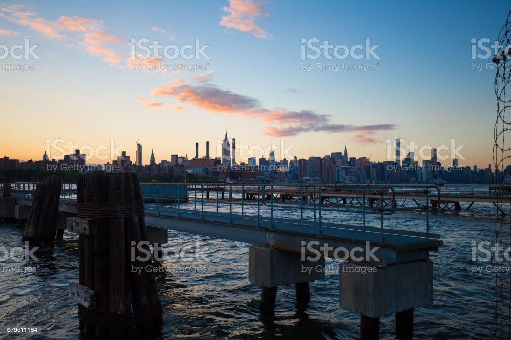 NYC Piers At Dusk royalty-free stock photo