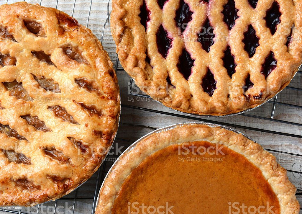 Pies on Cooling Racks stock photo