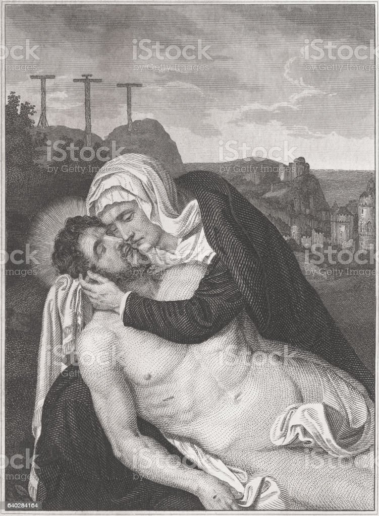Pieta - by Quentin Massys (?), steel engraving, published c.1850 stock photo