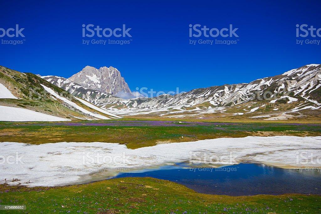 Pietranzoni lake, gran Sasso, Abruzzo - Italy stock photo