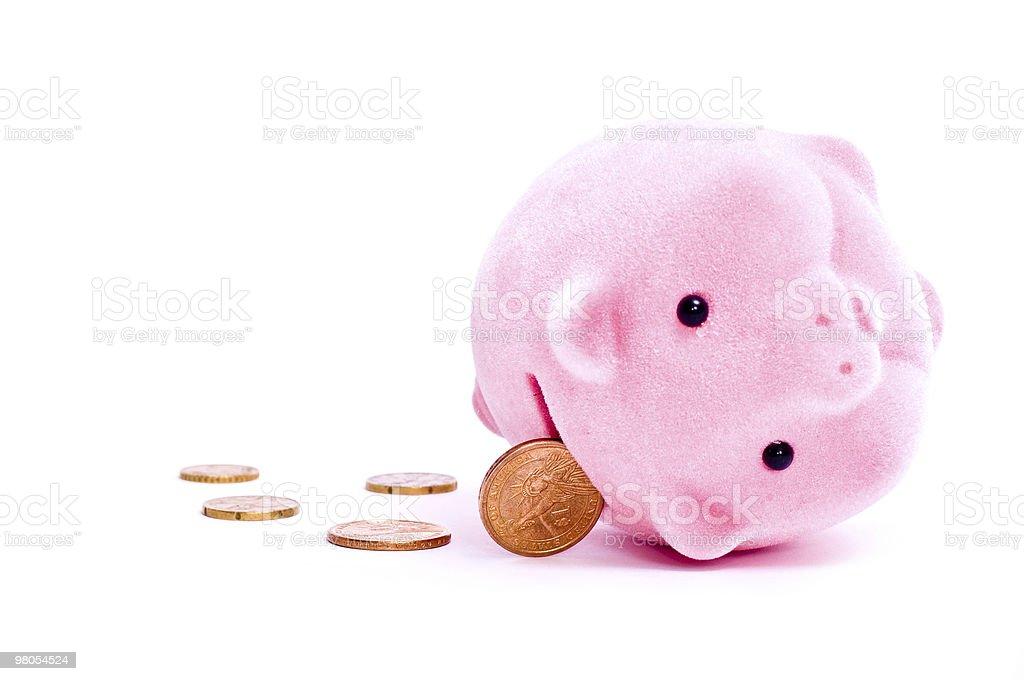 Pig and coins royalty-free stock photo