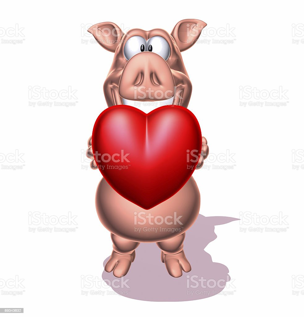 Pig giving love royalty-free stock photo
