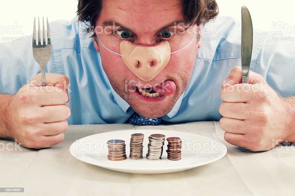 Pig Man Eating Money Food royalty-free stock photo