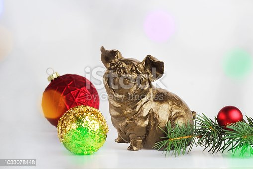 Pig or boar on abstract light background. The effect of bokeh. Symbol of the New Year. The concept of abundance, prosperity and wealth multiplication. Selective focus, side view, copy space.